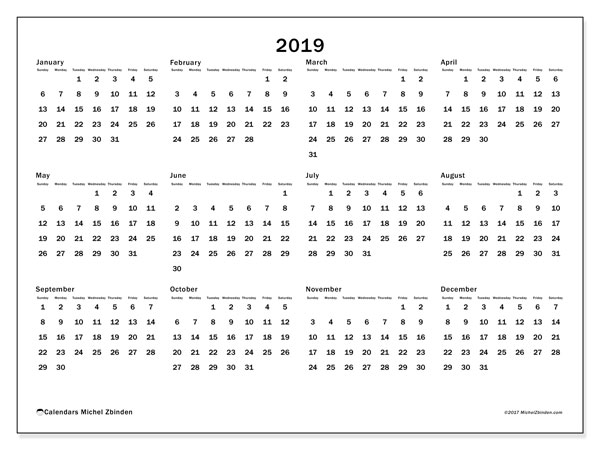 2019 Calendar, 32SS. Yearly calendar to print free.