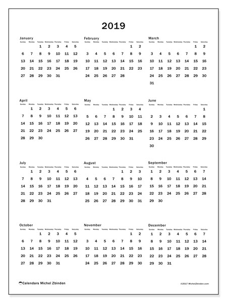 2019 Calendar, 33SS. Yearly calendar to print free.