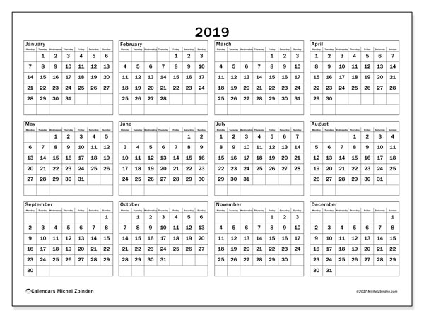 2019 Calendar, 34MS. Yearly calendar to print free.
