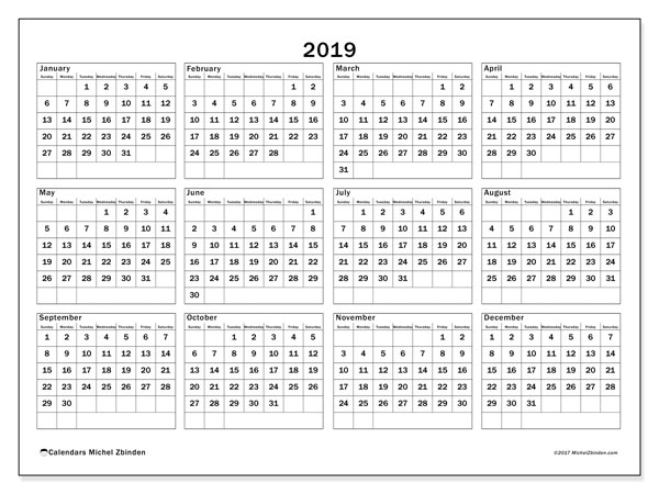 Calendar 2019 (34SS). Yearly calendar to print free.