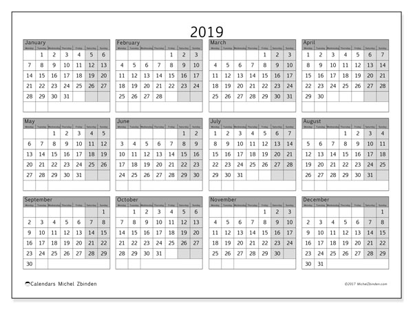 2019 Calendar, 35MS. Yearly calendar to print free.