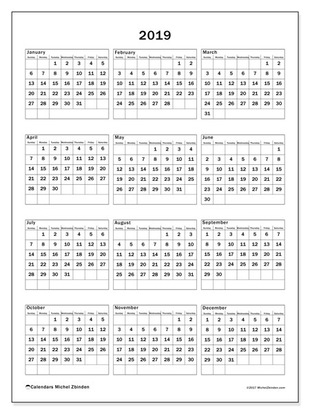 2019 Calendar, 36SS. Yearly calendar to print free.