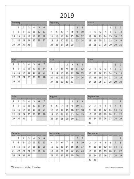2019 Calendar, 37MS. Calendar to print free.