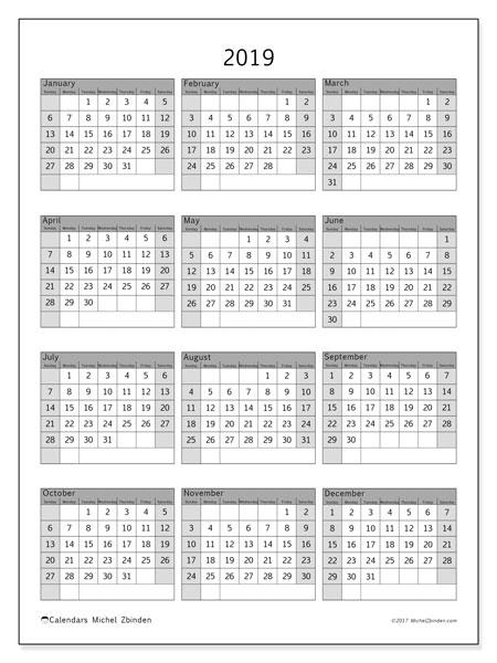 2019 Calendar, 37SS. Free printable yearly calendar.