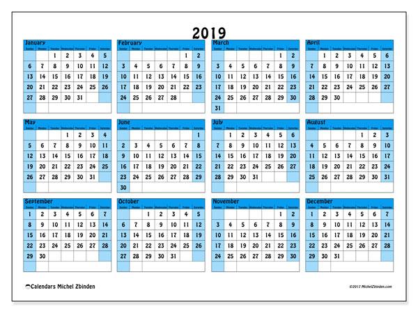 2019 Calendar, 39SS. Free calendar to print.