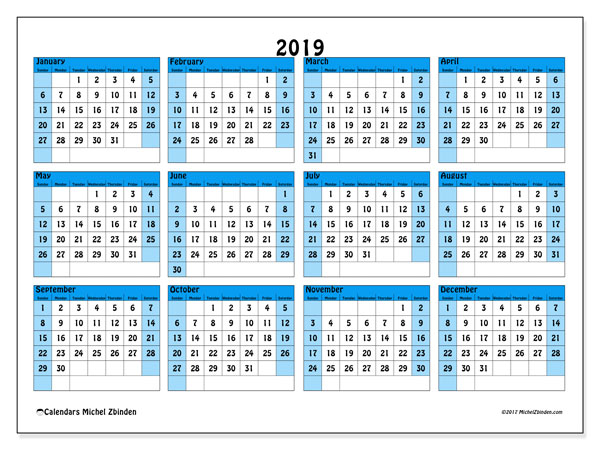 2019 Calendar, 39SS. Annual calendar to print free.
