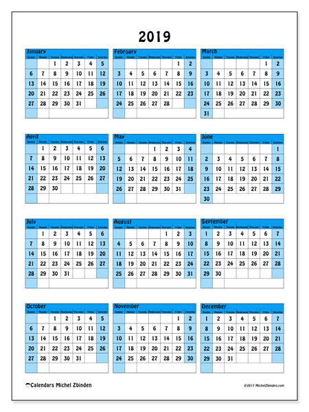 2019 Calendar, 40SS. Calendar to print free.