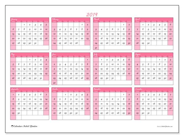 Calendar 2019 (41SS). Free calendar to print.