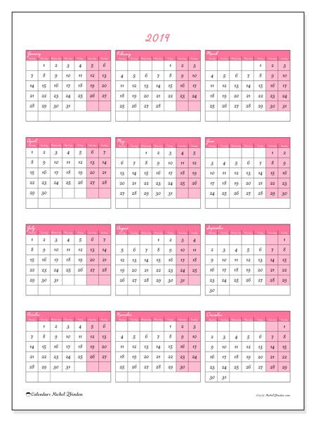 Calendar  2019, 42MS