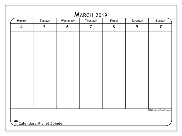 2019 Calendar, 43-10MS. Calendar for the week to print free.