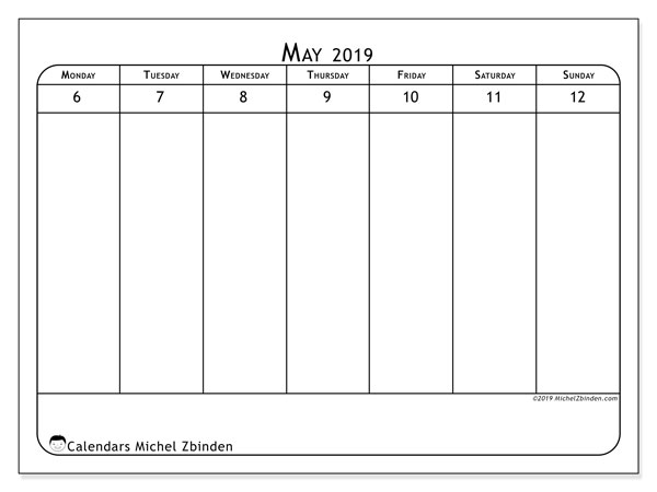 2019 Calendar, 43-19MS. Free bullet journal to print.