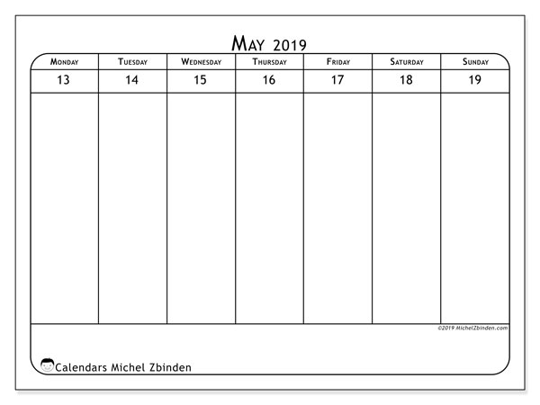 2019 Calendar, 43-20MS. Free printable calendar.