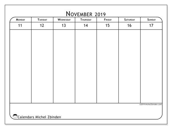 2019 Calendar, 43-46MS. Weekly calendar to print free.