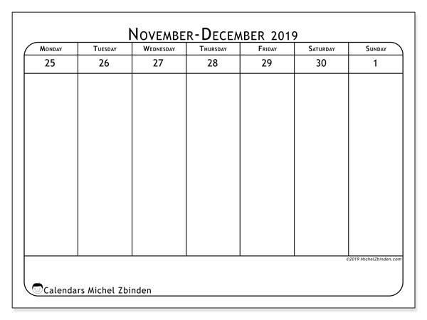 2019 Calendar, 43-48MS. Weekly calendar to print free.