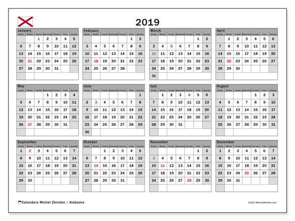 Calendar 2019, with the holidays of Alabama. Monthly planner to print free.
