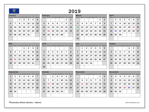 2019 Calendar, with the holidays of Alberta. Holidays calendar to print free.
