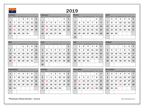 2019 Calendar, with the holidays of Arizona. Free printable calendar with public holidays.