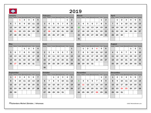 2019 Calendar, with the holidays of Arkansas. Free printable calendar with public holidays.