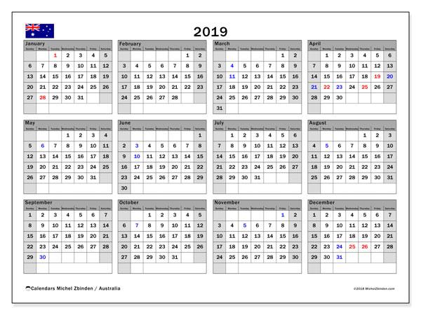 Calendar  2019, australia