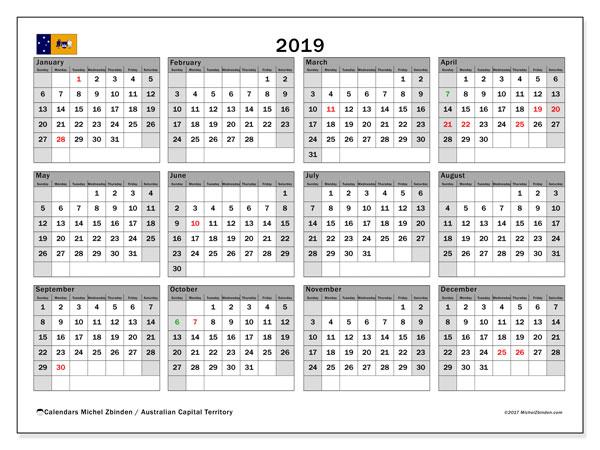 Calendar 2019, with the holidays of Australian Capital Territory. Calendar to print free.
