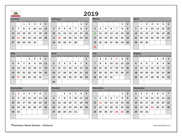 Calendar 2019, with the holidays of California. Bullet journal to print free.