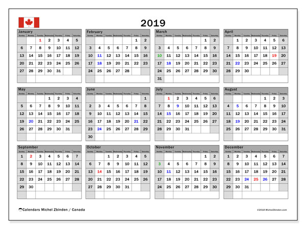 2019 Calendar, with the holidays of Canada. Free printable calendar with public holidays.