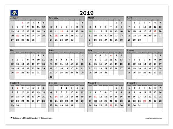 2019 Calendar, with the holidays of Connecticut. Free printable calendar with public holidays.