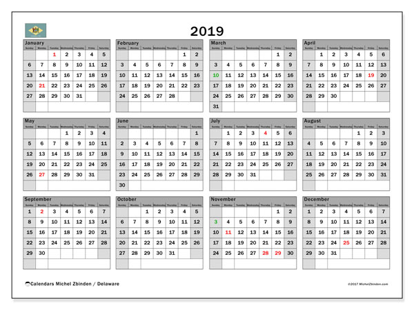 2019 Calendar, with the holidays of Delaware. Holidays calendar to print free.