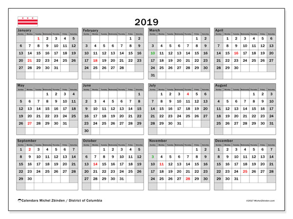 2019 Calendar, with the District of Columbia holidays. Holidays calendar to print free.