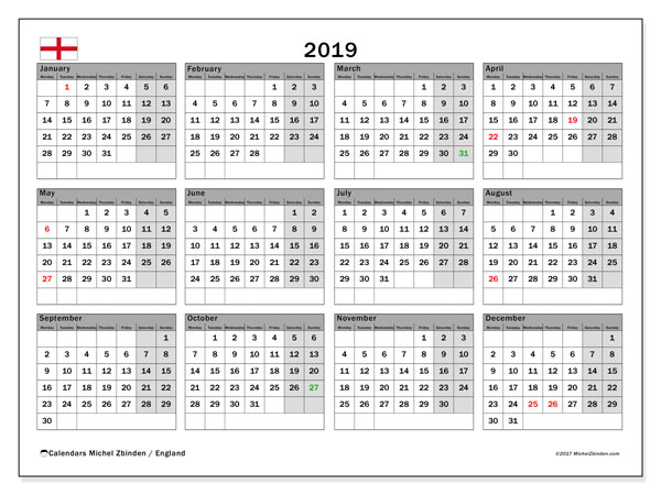Calendar 2019, with the holidays of England. Bullet journal to print free.