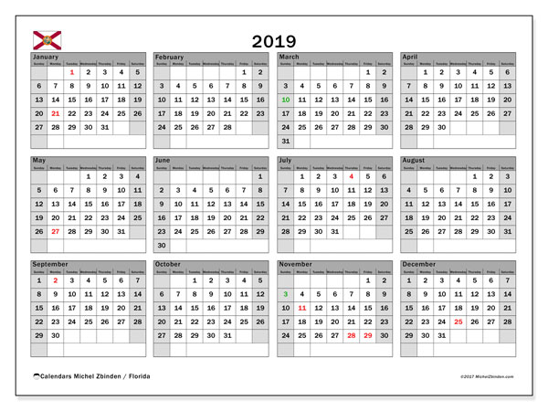 2019 Calendar, with the holidays of Florida. Holidays calendar to print free.