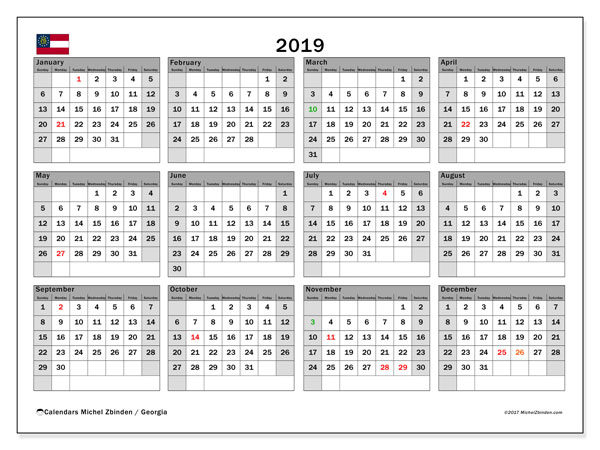 Calendar 2019, with the holidays of Georgia. Free printable monthly calendar.