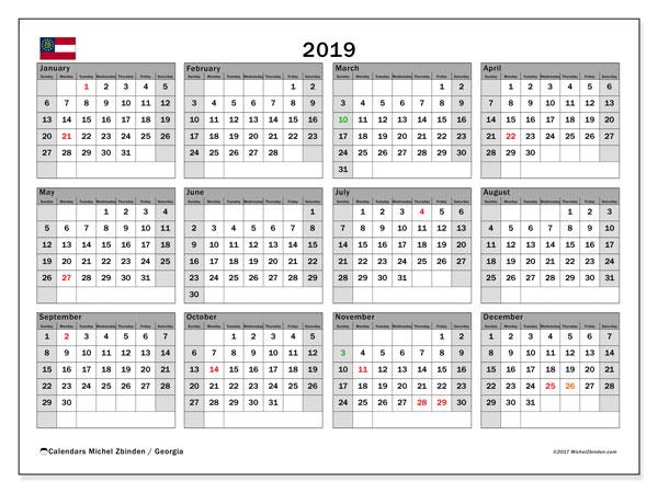 Calendar 2019, with the holidays of Georgia. Free printable calendar.
