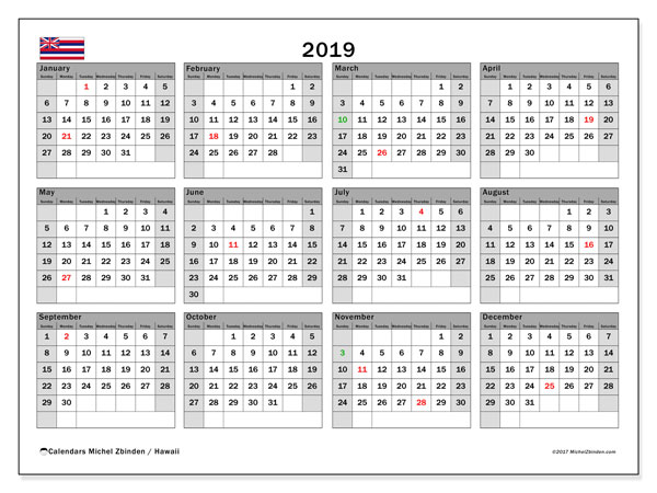 2019 Calendar, with the Hawaii holidays. Free printable calendar with public holidays.
