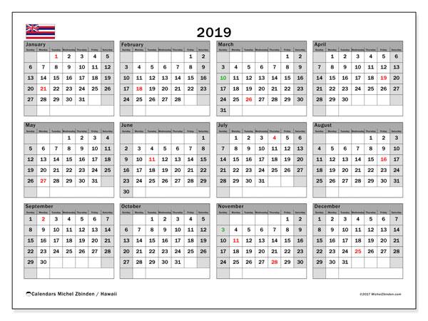 2019 Calendar, with the Hawaii holidays. Holidays calendar to print free.