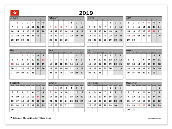 2019 Calendar, with the holidays of Hong Kong. Free printable calendar with public holidays.