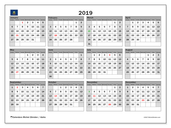 2019 Calendar, with the holidays of Idaho. Free printable calendar with public holidays.