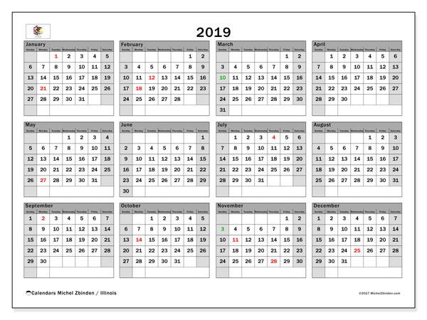 2019 Calendar, with the holidays of Illinois. Free printable calendar with public holidays.