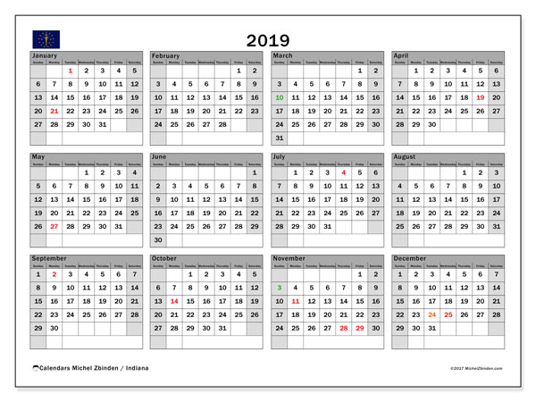 Calendar 2019, with the holidays of Indiana. Monthly planner to print free.