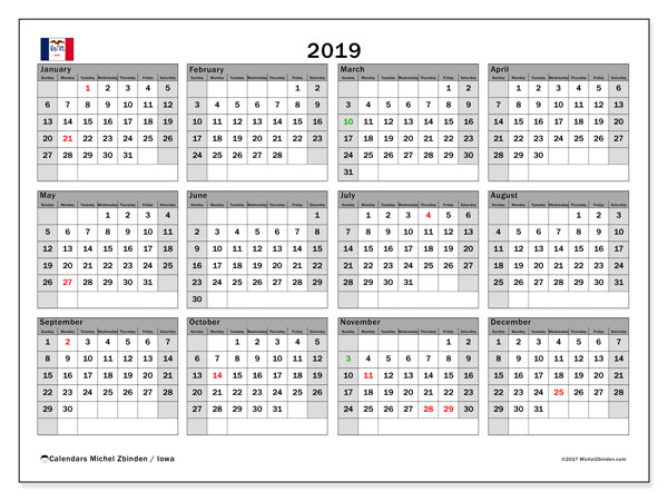 2019 Calendar, with the holidays of Iowa. Holidays calendar to print free.