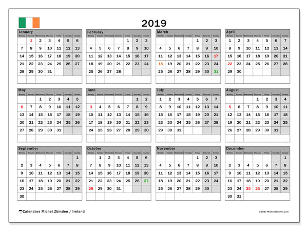 calendar 2019 with the holidays of ireland free calendar to print