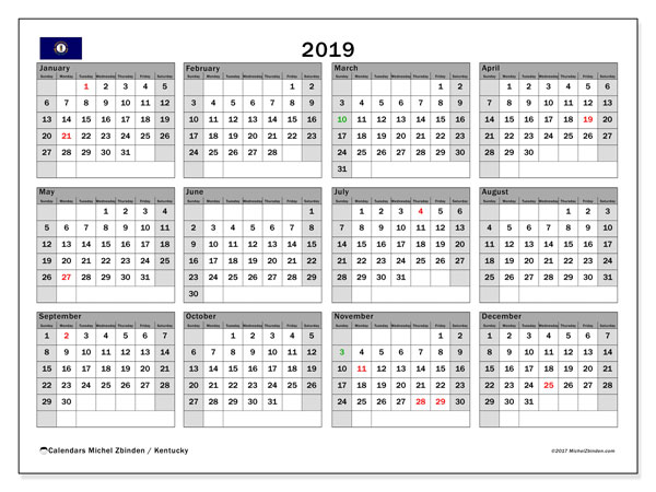 2019 Calendar, with the holidays of Kentucky. Holidays calendar to print free.