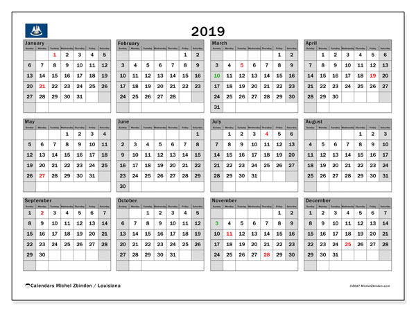 2019 Calendar, with the holidays of Louisiana. Free printable calendar with public holidays.