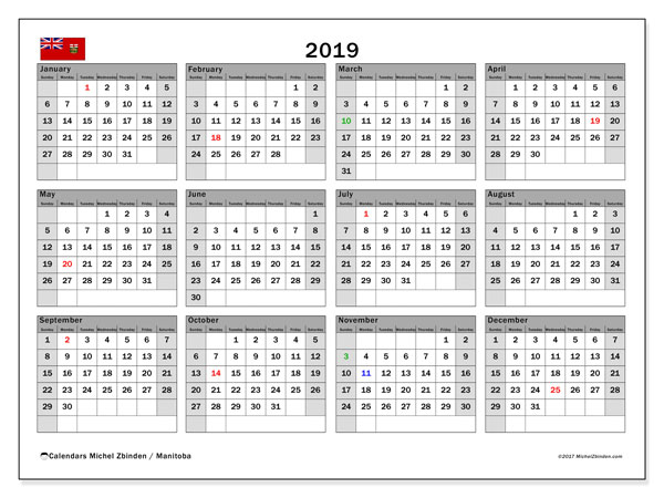 Calendar 2019, with the holidays of Manitoba. Free printable bullet journal.