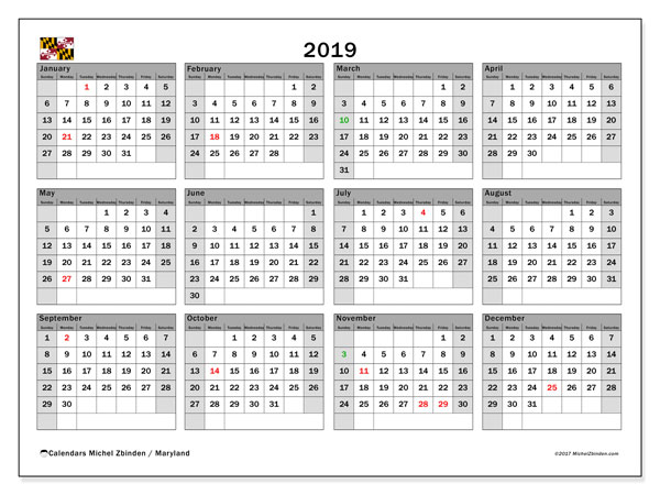 2019 Calendar, with the holidays of Maryland. Holidays calendar to print free.