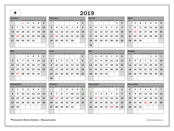 2019 Calendar, with the holidays of Massachusetts. Holidays calendar to print free.