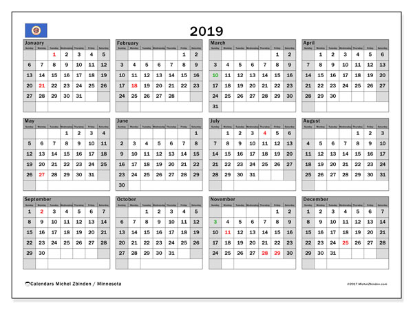 2019 Calendar, with the holidays of Minnesota. Free printable calendar with public holidays.