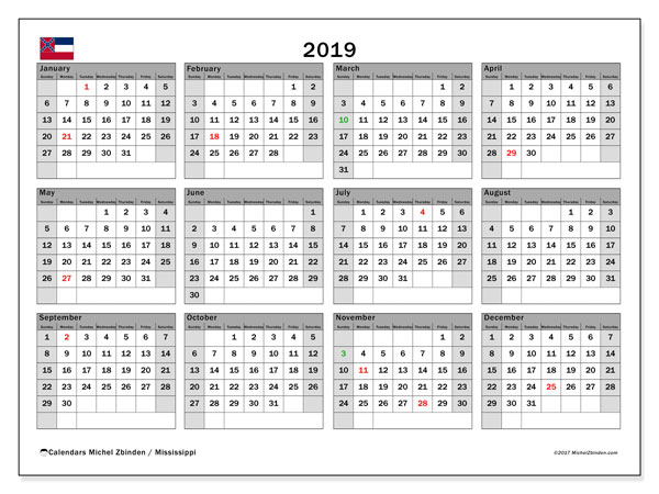 2019 Calendar, with the Mississippi holidays. Free printable calendar with public holidays.
