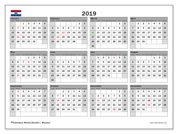 2019 Calendar, with the holidays of Missouri. Holidays calendar to print free.