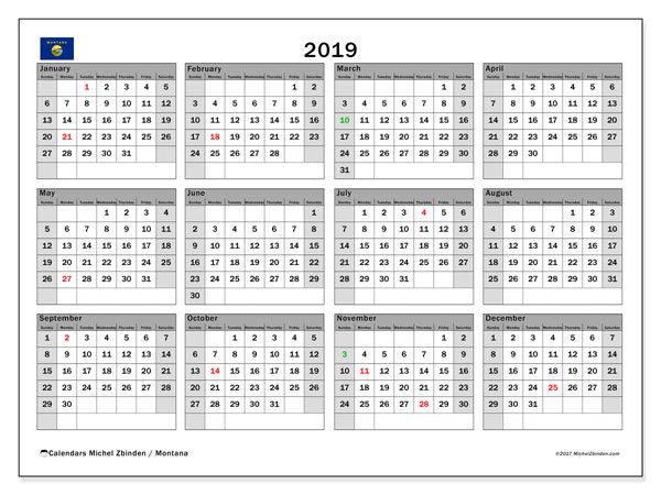 2019 Calendar, with the holidays of Montana. Free printable calendar with public holidays.